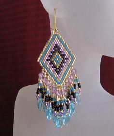 Bead Woven Earrings - Aquamarine Glass Daggers | Flickr - Photo Sharing!