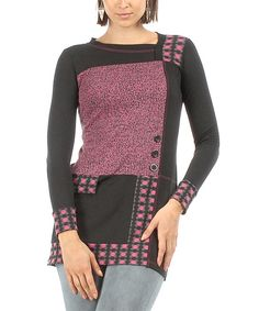 Black & Purple Patchwork Tunic by S'quise #zulily #zulilyfinds