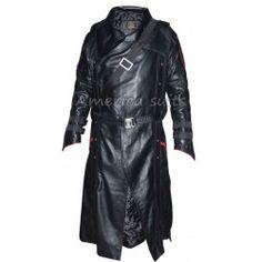 First Avenger Red Skull Leather Long Coat