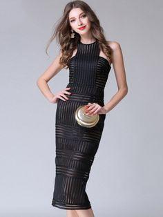 Black Sleeveless Net-Stripe Pattern Midi Dress