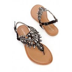 Black Gemstone Embroidered Thong Sandals Faux Suede