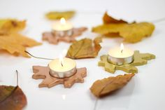 These pretty DIY Metallic Leaf Tealight Candle Holders make creative DIY stocking stuffer gifts.