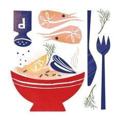 #illustrations #food #prawns