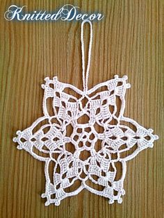 Crochet snowflakes pattern will help you to create an unusual Christmas decoration. Set of snowflakes contains 7 winter ornaments made in different design. Christmas Crochet Patterns, Crochet Christmas Ornaments, Handmade Christmas Decorations, Crochet Snowflakes, Winter Decorations, Handmade Ornaments, Boho Crochet Patterns, Crochet Diy, Crochet Motifs