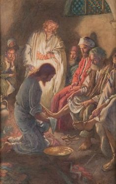 Stories about Jesus 1959 Jesus washing the disciples' feet Poster Print by Harold Copping x Church Pictures, Bible Pictures, Christian Images, Christian Art, Religious Paintings, Religious Art, Jesus Christ Painting, Pictures Of Jesus Christ, Prophetic Art