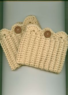 Hand Crocheted Boot Cuffs/Toppers, - CREAM  w/BROWN Button - Free Shipping in US #Handmade  $10.00-13.00