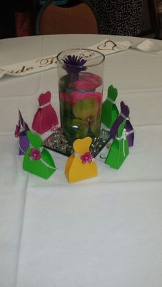 Spring themed Bridal Shower centerpiece & wedding dress favors created by me.