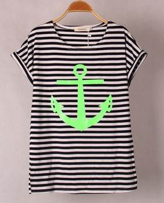 13 Colors Striped Colour with Printed CC Anchor Women short Sleeve T-Shirt Cotton Tops Skinny Tees S/M Free shipping