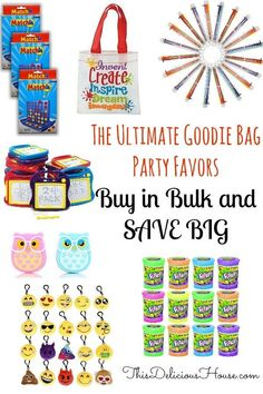 Easy kids party favors that you can buy online for a great price! Birthday party favors for kids, girls and boys. Birthday Party Goodie Bags, Barbie Birthday Party, Boy Party Favors, Trolls Birthday Party, Frozen Birthday Party, Unicorn Birthday Parties, Birthday Party Favors, Birthday Party Decorations, Party Bags