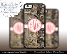 Camo Coral Monogram iPhone 5C 6 Plus Case iPhone 5s 4 case Ipod Realtree Personalized Country Inspired Girl by BlingSity
