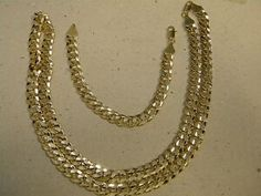 Mens Yellow Tone Gold Plated Cubic Curb Necklace Bracelet Set 30in Long 10mm - Yellow Gold Plated Chain - Ideas of Yellow Gold Plated Chain #YellowGoldPlatedChain