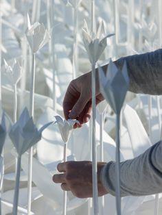 Folding for Peace is a white paper garden in Nagasaki, Japan realized by Swiss designer Anouk Vogel.