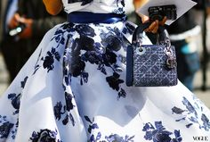 Paris fashion week - Dreamy blue roses, classic 'Dior New Look' silhouette, Dior bag