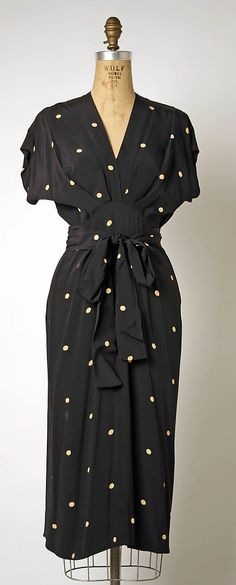 Vintage Gilbert Adrian dress, ca. 1942 #Vintage #Dress #PolkaDots