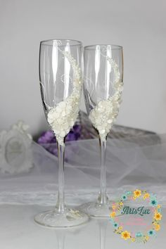 Ivory Wedding champagne glasses