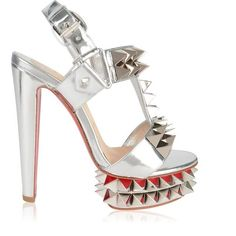 Christian Louboutin Cybersandal Heels ($1,480) ❤ liked on Polyvore featuring shoes, special occasion shoes, high heeled footwear, ankle strap shoes, christian louboutin shoes and leather shoes