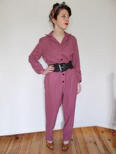 Vintage 80s jumpsuit overalls boiler suit dusky pink size medium UK 12 by BidandBertVintage on Etsy