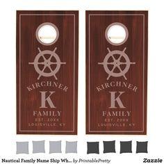 Nautical Family Name Ship Wheel Rustic Monogram Cornhole Set Custom Cornhole Boards, Cornhole Set, Cornhole Tournament, Cross Beam, Ship Wheel, School Colors, Monogram Initials, Board Games, Nautical