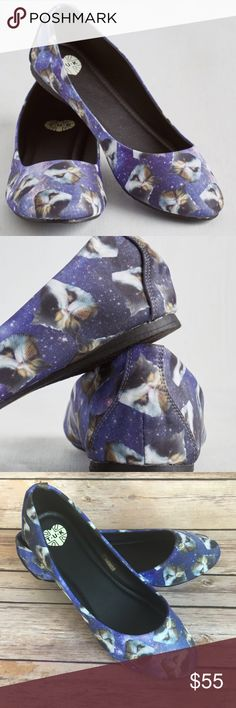 New in box cat space print T.U.K. flats✨ The cutest cat and space print ballet flats by T.U.K. ✨   Condition: New in box. Never worn.  Brand: T.U.K. (purchased from ModCloth.com) Color:Purple with kitten and outer space print Measurements: Size 8 Materials:man made  No PayPal, holds, or trades.  Bundle to save. Will consider offers. ModCloth Shoes Flats & Loafers