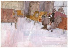 bernie fuchs, sketch forwaiting room