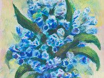 Blumen Malerei, 13,5 x 14,2 cm, Acryl