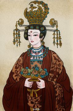 """Portraits of several of the female Buddhist donors depicted in the famous Dunhuang Murals from the Mogao Caves of China, by Chinese artist -阿舍-. The women are wearing traditional Chinese hanfu,. Chinese Design, Chinese Art, Historical Women, Chinese Culture, Traditional Chinese, Chinese Painting, Hanfu, Love Pictures, Art Girl"