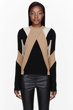 GIVENCHY Tan wool-cashmere Patchwork Knit Intarsia Sweater