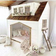 Playhouse Bed, Toddler Rooms, House Beds, Girl House, Little Girl Rooms, Kid Beds, New Room, Play Houses, Girls Bedroom