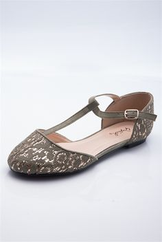 Dreamy Gleam Crochet and Foil Flats - Olive Green
