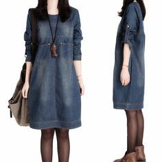 2015  Autumn Winter New Arrival Long Sleeve Jeans Dress Vestido Casual Elegant Vintage Loose Plus Size Denim T Shirt Dress B3065