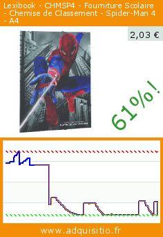 Lexibook - CHMSP4 - Fourniture Scolaire - Chemise de Classement - Spider-Man 4 - A4 (Jouet). Réduction de 61%! Prix actuel 2,03 €, l'ancien prix était de 5,14 €. http://www.adquisitio.fr/lexibook/chmsp4-fourniture