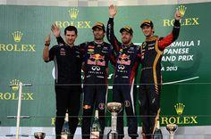 Japanese GP 2013 podium  1 Sebastian Vettel Infiniti Red Bull Racing  2 Mark Webber Infiniti Red Bull Racing  3 Romain Grosjean Lotus F1 Team