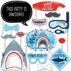 Funny Photo Booth, Diy Photo Booth Props, Birthday Photo Booths, Birthday Photos, Shark Party Decorations, Birthday Decorations, Boy Birthday Parties, 5th Birthday, Birthday Ideas