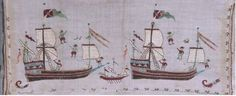 Skyros ship embroidery Benaki Hand towel with embroidered representations of sailing ships and sailors. From Skyros. Nautical Artwork, Benaki Museum, Greek Design, Greek Art, Ship Art, Fabric Art, Folk Art, Needlework, Greece