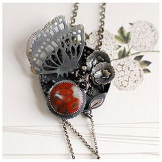 Poppy Blossoms necklace by 6shadowsjewelry on Etsy