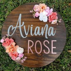 Round Wooden Name Sign, Nursery Name Sign, Floral Name Sign