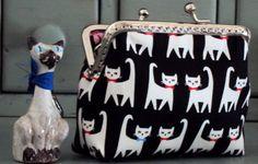 Cat purse black and white cat purse kiss lock purse by Tresgats, $13.00