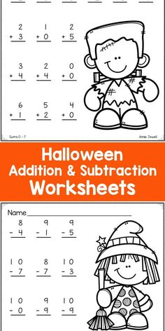 Your students will love these 6 Addition and 6 Subtraction Halloween Themed worksheets with answer keys. Great practice for building math fact fluency with crisp, current, cute Halloween clip art for coloring. Annie Jewell.