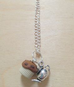 Muffin and Teapot charm necklace by FredericaDixon on Etsy, £13.99