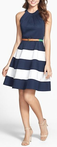 cute striped navy #blue dress http://rstyle.me/n/itnrzr9te