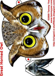 Origami Halloween Owl Mask - use in the garden