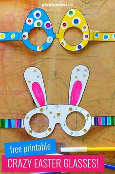Make some egg glasses or some bunny glasses! crafts first grade Crazy Fun Free Printable Easter Glasses - Picklebums Easter Arts And Crafts, Easter Activities For Kids, Bunny Crafts, Preschool Crafts, Easter Crafts For Preschoolers, Rabbit Crafts, Flower Crafts, Printable Crafts, Free Easter Printables