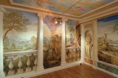 The subjects of the frescoes created by Mariani Affreschi are inspired by Tiepolo and Veronese