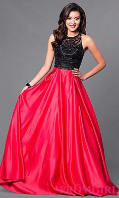 Black and Red Prom Dress with Beaded Bodice at PromGirl.com