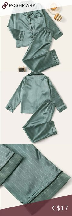 Striped Button-Up Satin PJ Set Excellent Used Condition. Colour: Green Size: XS (Shirt fits snug, pants are true to size) Material is satin. Satin Pj Set, Pj Sets, Plus Fashion, Fashion Tips, Fashion Trends, Snug, Button Up, Raincoat, Pajamas