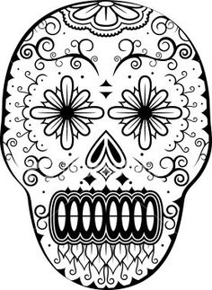 sugar skull day of the dead halloween coloring page