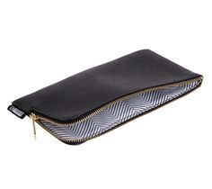 TEXTURED LEATHER PENCIL CASE: BLACK