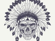 Skull with Indian Feather Hat by Sergey Kandakov