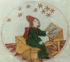 A Medieval Astrologer studying the stars