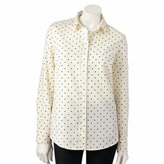 LC Lauren Conrad Dot Oxford Shirt